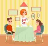 Διανυσματική απεικόνιση της έννοιας οικογενειακού γεύματος Η μητέρα, ο γιος και η κόρη μαζί στον πίνακα και έχουν το γεύμα στα κι απεικόνιση αποθεμάτων