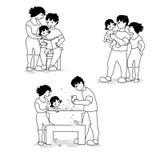 Διανυσματική απεικόνιση της αγάπης της οικογένειας που παίζει και που απολαμβάνει Απεικόνιση αποθεμάτων