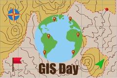 Διανυσματική απεικόνιση της γεωγραφικής ημέρας συστημάτων πληροφοριών GIS Στοκ Εικόνες