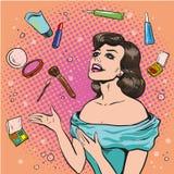 Διανυσματική απεικόνιση της γυναίκας και διεσπαρμένος makeup, λαϊκό ύφος τέχνης απεικόνιση αποθεμάτων
