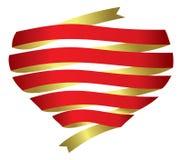 Διανυσματική κορδέλλα εμβλημάτων καρδιών Στοκ εικόνα με δικαίωμα ελεύθερης χρήσης