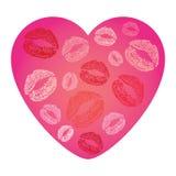 Διανυσματική απεικόνιση της κάρτας καρδιών με τις χειλικές τυπωμένες ύλες Στοκ Εικόνα