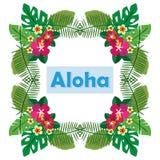 Διανυσματική απεικόνιση της λέξης χαιρετισμού aloha στα πράσινα φύλλα και τα λουλούδια φοινικών Στοκ Φωτογραφίες