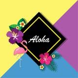 Διανυσματική απεικόνιση της λέξης χαιρετισμού aloha στα πράσινα φύλλα και τα λουλούδια φοινικών Στοκ φωτογραφίες με δικαίωμα ελεύθερης χρήσης