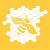 Διανυσματική απεικόνιση της μέλισσας στο πορτοκαλί υπόβαθρο Στοκ εικόνα με δικαίωμα ελεύθερης χρήσης