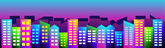 Διανυσματική απεικόνιση της νυχτερινής εικονικής παράστασης πόλης διανυσματική απεικόνιση