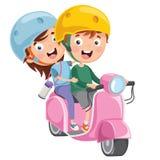 Διανυσματική απεικόνιση της οδηγώντας μοτοσικλέτας παιδιών απεικόνιση αποθεμάτων