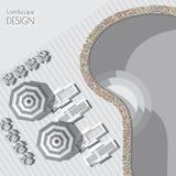 Διανυσματική απεικόνιση της ομπρέλας, σαλόνια, λίμνη, σύμβολα εγκαταστάσεων Στοκ εικόνα με δικαίωμα ελεύθερης χρήσης