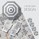 Διανυσματική απεικόνιση της ομπρέλας, σαλόνια, πέτρα που στρώνεται, εγκαταστάσεις Στοκ φωτογραφία με δικαίωμα ελεύθερης χρήσης