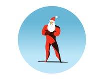 Διανυσματική απεικόνιση της δράσης Superhero Άγιος Βασίλης Στοκ Φωτογραφίες