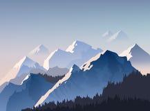 Διανυσματική απεικόνιση της σειράς βουνών, και αιχμές με το φως πρωινού που τυλίγονται στην ομίχλη ελεύθερη απεικόνιση δικαιώματος