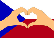 Διανυσματική απεικόνιση της σημαίας και των χεριών Δημοκρατίας της Τσεχίας που κάνει μια μορφή καρδιών Στοκ Εικόνα