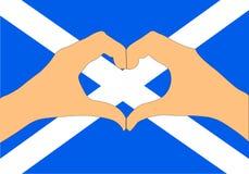 Διανυσματική απεικόνιση της σημαίας και των χεριών της Σκωτίας που κάνει μια μορφή καρδιών Στοκ Εικόνα