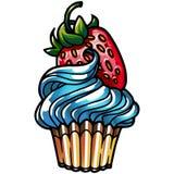 Διανυσματική απεικόνιση της φράουλας cupcake Στοκ φωτογραφίες με δικαίωμα ελεύθερης χρήσης