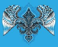 Διανυσματική απεικόνιση της φτερωτών καρδιάς, της κορώνας και του μήλου Συρμένη χέρι αναδρομική πετώντας καρδιά δερματοστιξιών Στοκ Φωτογραφίες