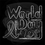 Διανυσματική απεικόνιση της χειρόγραφης Παγκόσμιας Ημέρας κατά του AIDS επιγραφής, ο ελεύθερη απεικόνιση δικαιώματος