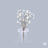 Διανυσματική απεικόνιση της όμορφης χειμερινής ανθοδέσμης των λουλουδιών στα χρώματα κρητιδογραφιών με την κορδέλλα Στοκ Εικόνες