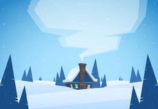 Διανυσματική απεικόνιση: Τοπίο χειμερινών χιονώδες κινούμενων σχεδίων με το σπίτι και καπνός από την καπνοδόχο Χριστούγεννα εύθυμ διανυσματική απεικόνιση