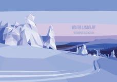 Διανυσματική απεικόνιση τοπίων με τα δέντρα και τον τομέα χιονιού Στοκ Εικόνες