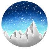 Διανυσματική απεικόνιση τοπίων με τα βουνά και χιόνι με τη σύσταση watercolor διανυσματική απεικόνιση