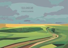 Διανυσματική απεικόνιση τοπίων με τον πράσινους τομέα και το δρόμο Στοκ Εικόνες