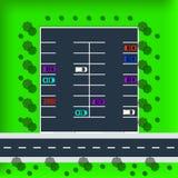 Διανυσματική απεικόνιση τοπ άποψης χώρων στάθμευσης Σύνολο διάφορων αυτοκινήτων διανυσματική απεικόνιση