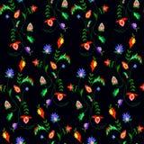 Διανυσματική απεικόνιση του άνευ ραφής φανταστικού ζωηρόχρωμου σχεδίου λουλουδιών Στοκ Εικόνα