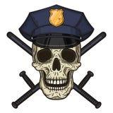 Διανυσματική απεικόνιση του ανθρώπινου κρανίου στην αστυνομία ΚΑΠ και το διασχισμένο συμένος μπαστουνιών αστυνομίας υπό εξέταση ύ Στοκ Εικόνες