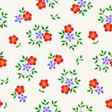 Διανυσματική απεικόνιση του απλού κόκκινου και μπλε άνευ ραφής σχεδίου λουλουδιών Στοκ Εικόνα