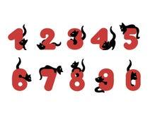 Διανυσματική απεικόνιση του αστείου αριθμού αλφάβητου με τις γάτες Ελεύθερη απεικόνιση δικαιώματος