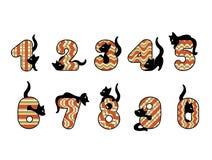 Διανυσματική απεικόνιση του αστείου αριθμού αλφάβητου με τις γάτες Διανυσματική απεικόνιση