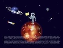 Διανυσματική απεικόνιση του αστροναύτη με τη σημαία Στοκ φωτογραφίες με δικαίωμα ελεύθερης χρήσης