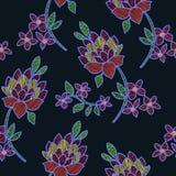 Διανυσματική απεικόνιση του αφηρημένου ζωηρόχρωμου άνευ ραφής σχεδίου λουλουδιών και φύλλων Στοκ Εικόνες