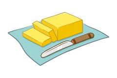 Διανυσματική απεικόνιση του βουτύρου και του μαχαιριού διανυσματική απεικόνιση