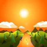 Διανυσματική απεικόνιση του εικονιδίου θερινού ηλιοβασιλέματος Στοκ φωτογραφία με δικαίωμα ελεύθερης χρήσης
