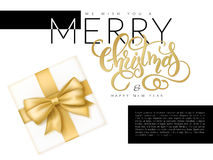 Διανυσματική απεικόνιση του εμβλήματος Χριστουγέννων με τη τοπ άποψη του δώρου με την κόκκινη λέξη εγγραφής κορδελλών και χεριών  Στοκ Εικόνα
