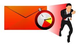 Διανυσματική απεικόνιση του επιχειρησιακού χαρακτήρα, του φακέλου και του ρολογιού χρονικών στόχων το θέμα των προθεσμιών εργασία απεικόνιση αποθεμάτων