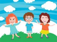 Διανυσματική απεικόνιση του ευτυχούς παιχνιδιού παιδιών ελεύθερη απεικόνιση δικαιώματος