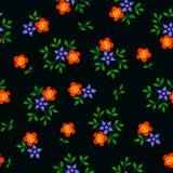 Διανυσματική απεικόνιση του ζωηρόχρωμου άνευ ραφής σχεδίου λουλουδιών στο μαύρο υπόβαθρο Στοκ εικόνες με δικαίωμα ελεύθερης χρήσης
