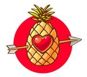 Διανυσματική απεικόνιση του ζωηρόχρωμου ανανά με την καρδιά και το βέλος ο Στοκ φωτογραφία με δικαίωμα ελεύθερης χρήσης
