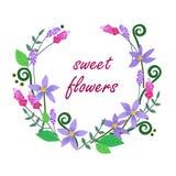 Διανυσματική απεικόνιση του ζωηρόχρωμου στεφανιού λουλουδιών Στοκ Εικόνες