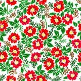 Διανυσματική απεικόνιση του ζωηρόχρωμου σχεδίου με τα κόκκινα λουλούδια σε ένα άσπρο υπόβαθρο Στοκ Εικόνες