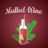 Διανυσματική απεικόνιση του θερμαμένου κρασιού σε ένα μπουκάλι με τα Χριστούγεννα διανυσματική απεικόνιση