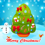 Διανυσματική απεικόνιση του διακοσμημένου χριστουγεννιάτικου δέντρου Στοκ εικόνες με δικαίωμα ελεύθερης χρήσης
