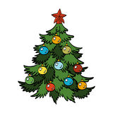 Διανυσματική απεικόνιση του διακοσμημένου χριστουγεννιάτικου δέντρου Στοκ Φωτογραφίες
