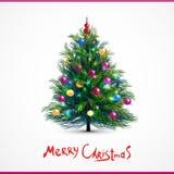 Διανυσματική απεικόνιση του διακοσμημένου χριστουγεννιάτικου δέντρου Στοκ Εικόνα