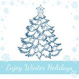 Διανυσματική απεικόνιση του διακοσμημένου χριστουγεννιάτικου δέντρου Στοκ Εικόνες