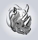 Διανυσματική απεικόνιση του κεφαλιού ενός ρινοκέρου Στοκ Εικόνες