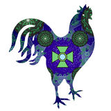 Διανυσματική απεικόνιση του κοσμικού κόκκορα με τον πράσινο σταυρό Στοκ Εικόνες