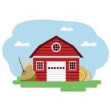 Διανυσματική απεικόνιση του κόκκινου αγροτικού κτηρίου και των σχετικών στοιχείων Στοκ φωτογραφία με δικαίωμα ελεύθερης χρήσης